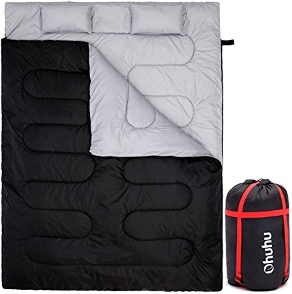 """""""Ohuhu Double Sleeping Bag With 2 Pillows And A Carrying Bag, Waterproof Lightweight 2 Person Sleeping Adult Bag For Camping, Backpacking, Hiking"""" - Sleeping Bags"""