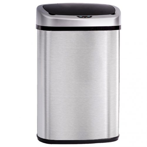13 Gallon Trash Can, BestOffice Automatic Trash Can Stainless Steel Sensor Trash Bin for Kitchen Bedroom Outdoor - Stainless Steel Trash Cans
