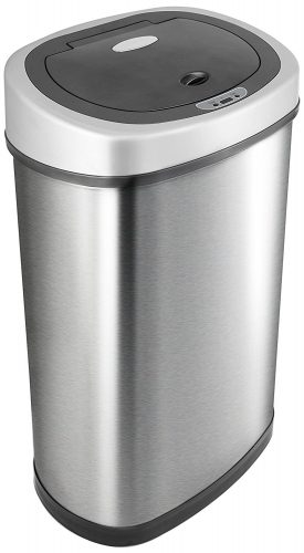 NINESTARS DZT-50-28BR Automatic Touchless Motion Sensor Rectangular Trash Can, Black Top, 13 Gal. 49 L., Brush - Stainless Steel Trash Cans