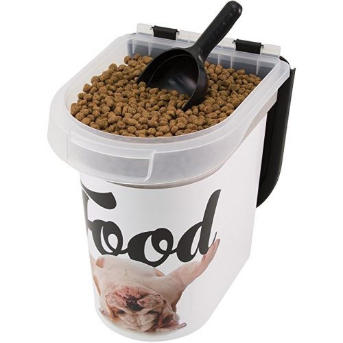 Paw Prints 15 Pound Pet Airtight Food Storage Container, Carlos the Bulldog Design, Includes Snap-In 1 Cup Measured Scoop, 12.5 x 9.75 x 13.38 Inches, 37716 - Dog Food Containers