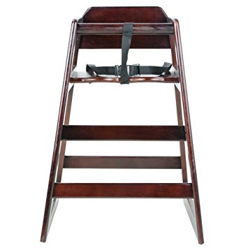 Excellante' Wooden High Chair, Walnut (Packaging May Vary)