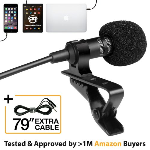 Professional Grade Lavalier Lapel Microphone  Omnidirectional Mic with Easy Clip-On System  Perfect for Recording Youtube/Interview/Video Conference/Podcast/Voice Dictation/iPhone/ASMR
