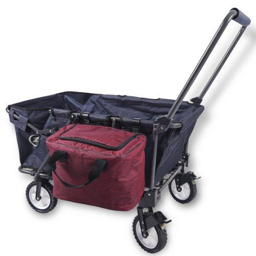 REDCAMP Collapsible Wagon Cart, Folding Utility Wagon All Terrain Outdoor Beach Sports (Navy Blue + Bag)
