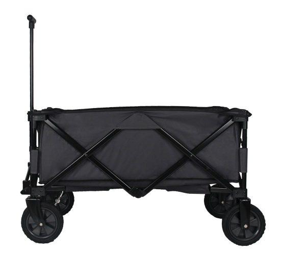 Patio Watcher Heavy Duty Collapsible Folding Garden Cart Utility Wagon for Shopping Outdoors, Gray
