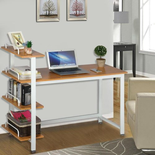 Yaheetech Wood Corner Computer Desk PC Laptop Table Workstation with 4 Tiers Shelves (Brown) - Study Tables