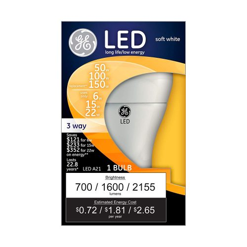GE Lighting 3-Way LED 50/100/150-watt replacement A21 Bulb