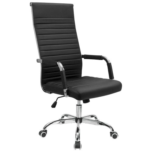 Furmax Ribbed Office Chair High Back PU Leather Executive Conference Chair Adjustable Swivel Chair With Arms