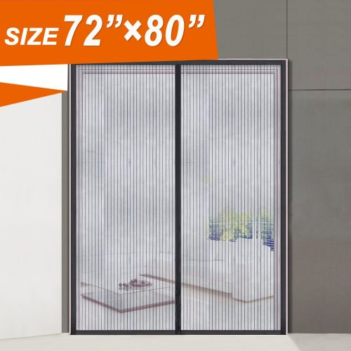 "Magnetic Screen Door 72, Wide Mega French Door Mesh 72 X 80 Fit Doors Size Up to 70""W X 79""H Max with Full Frame Velcro Large Magnet Double Door Curtain Slab Doors Keep Fly Mosquito Out"