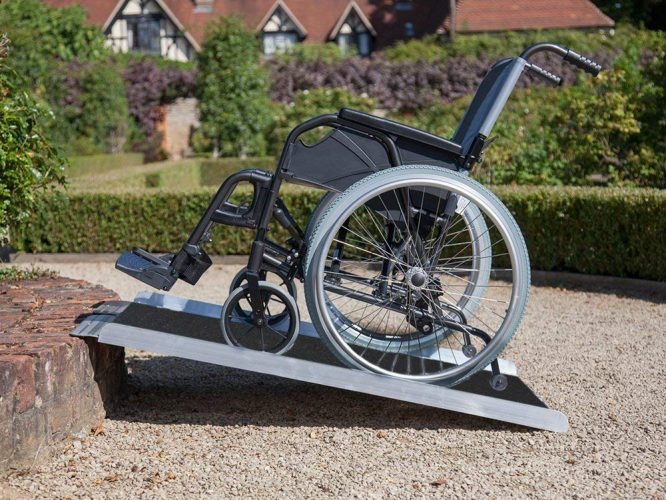 """Clevr 3' (36"""" X 31"""") Non-Skid Aluminum Wheelchair Loading Traction Ramp, Lightweight Folding Portable, Single Fold Wheelchair Scooter Ramp, Extra wide 31"""", Holds up to 600 lbs"""