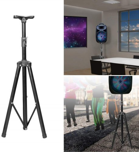 GPCT [Universal] Speaker [Corrosion Resistant] Adjustable Tripod Stand. [Heavy Duty] Holds Up To 60KG/132LBS. Easy Storage [Non-Slip] 4 Different Heights DJ PA Speaker Stand. [BLACK] - Speaker Stands