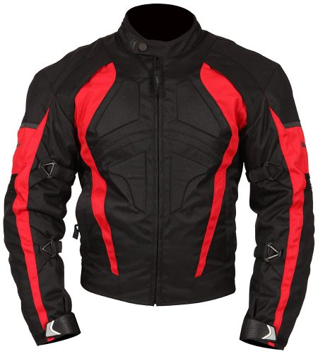 Milano Sports Gamma Motorcycle Jacket with Red Accent (Black, Large)