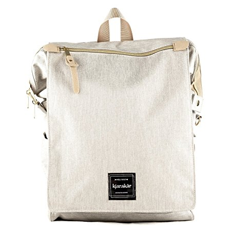 Kjarakär Backpack Best Gift for Women, Girls. Commuter Bag, School & Laptop Book bag, Laptop Bag, Great Diaper Bag Too! TSA Friendly | Waterproof (Light Grey)