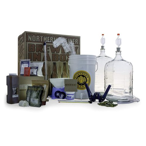 Northern Brewer - Deluxe Home Brewing Equipment Starter Kit - Glass Carboys - with 5 Gallon Chinook IPA Beer Recipe Kit