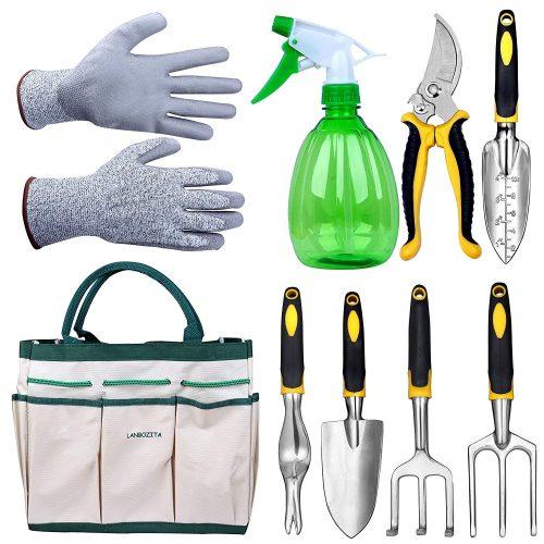 LANBOZITA Garden Tools,9 Piece Gardening Tools Sets