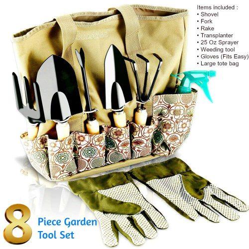 Scuddles - Garden Tools Set - 8 Piece Gardening tools With Storage Organizer