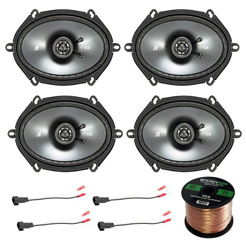 "Car Speaker Set Combo Of 4 Kicker 40CS684 6x8"" Inch 450W 2-Way Car Coaxial Stereo Speakers + 4 Metra 72-5600 Speaker Connector for Ford, Lincoln, Mazda, Mercury, + Enrock 50ft 16g Speaker Wire"