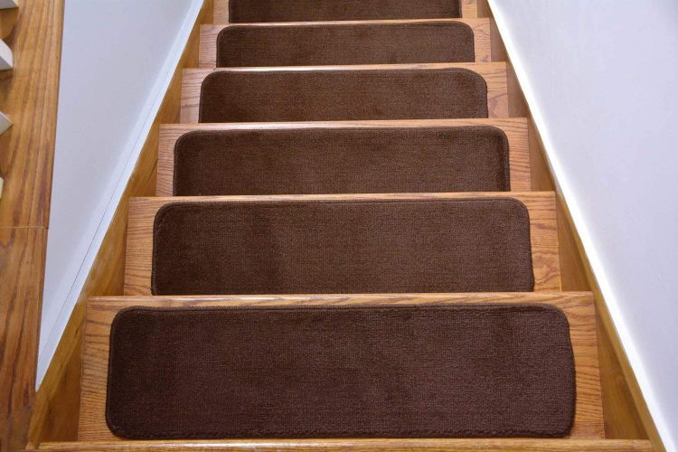 Comfy Collection Stair Tread Treads Indoor Skid Slip Resistant Carpet Stair Tread Treads Machine Washable 8 ½ Inch x 30 Inch (Set of 13, Brown)