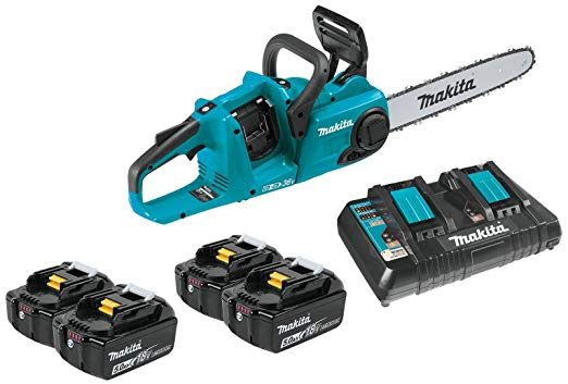 "Makita XCU03PT 18V X2 (36V) LXT Lithium-Ion Brushless Cordless 14"" Chain Saw Kit (5.0Ah) - Battery-Powered Chainsaws"