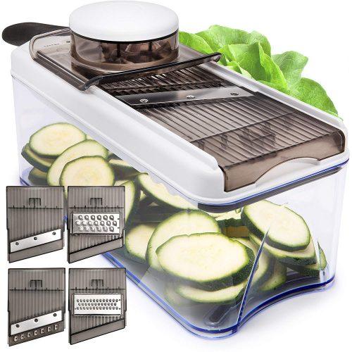 Adjustable Mandoline Slicer - 5 Blades - Vegetable Cutter, Peeler, Slicer, Grater & Julienne Slicer (Black)
