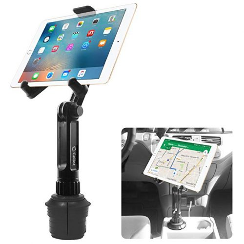 Cup Holder Tablet Mount, Tablet Car Mount Holder made by Cellet with a cup holder base for iPad Mini/Air 2 /Air/iPad 4/3/2 Samsung Galaxy Tab 4/3 and More - Holds Tablets up to 9.7 Inches in Width - Ipad Car Mounts