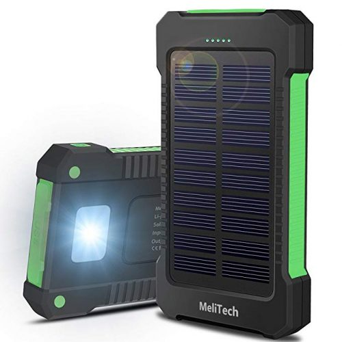 MeliTech Portable Solar Charger Waterproof Mobile Power Bank 20000mAh External Backup Battery Dual USB - Solar Power Banks