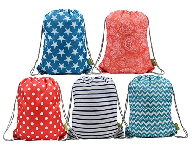 Water Resistant Ripstop Polyester Drawstring Bags Kids Backpacks with Pattern Printing on 2 Sides, 5 Designs in a Set - Drawstring Bags