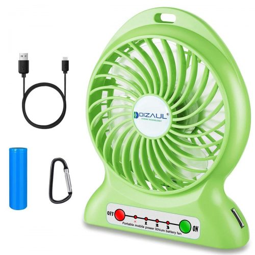 dizauL Portable Fan, 2600mAh Battery Operated and Flash light - portable desk fans