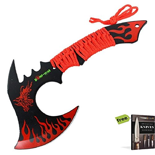 """11"""" Black/Green Combat Full Tang Tactical Throwing Knife Axe Hatchet Dragon + Free eBook by SURVIVAL STEEL"""