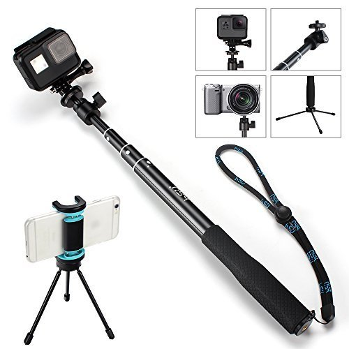 "Selfie Stick - Adjustable Telescoping Monopod with 360° ball head for GoPro Hero 6/5/4/3 GoPro Hero(2019) and Smartphone, Action Camera (36"" with tripod)"