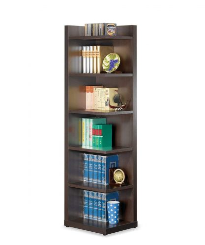 Coaster Transitional Cappuccino Corner Bookcase with Open Side