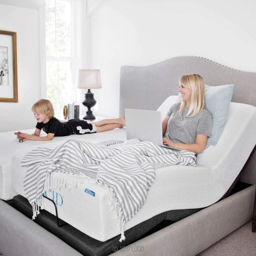 LUCID L300 Adjustable Bed Base-5 Minute Assembly-Dual USB Charging Stations Head and Foot Incline-Wireless Remote Control-Upholstered-Ergonomic, Twin XL, Charcoal