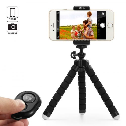KCOOL Phone Tripod Stand Holder for iPhone, Cellphone, Camera with Universal Clip and Remote (Black)