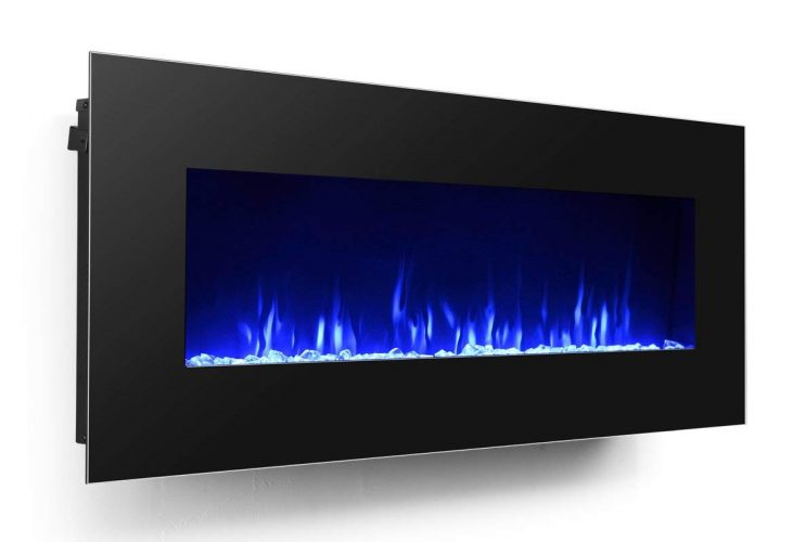 3G Plus 50&quot Electric Fireplace Wall Mounted Heater Crystal Stone Fuel Effect - wall mounted electric heaters
