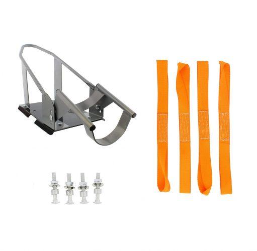 ABN Trailer Wheel Chock Plus Nylon Tie Down Loop Straps - Motorcycle Wheel Chock