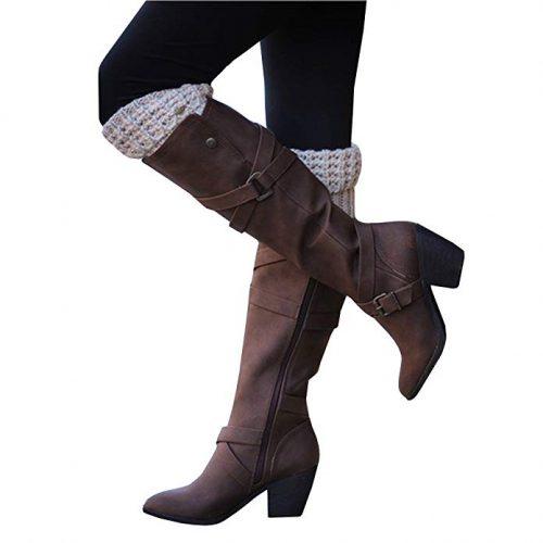 Ermonn Womens Wide Calf Riding Boots - Combat Boots For Women