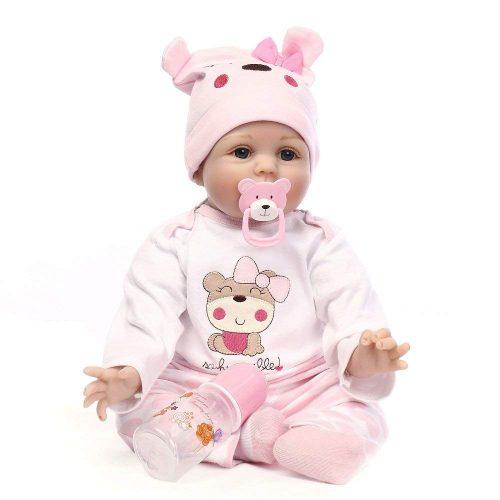Minidiva Reborn Baby Dolls 22 inch, Quality Realistic Handmade Babies Dolls Girls Soft Vinyl Silicone Lifelike Kids Gifts / Toys Age 3+, EN71 Certification