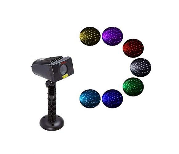 LEDMALL Full Spectrum Motion Star Effects 7 color WHITE Laser Christmas Lights - Outdoor Laser Light for Christmas