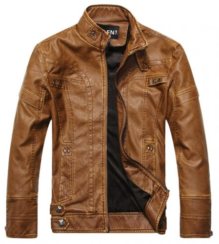 Chouyatou Men's Vintage Stand Leather Jacket - utility jackets for men