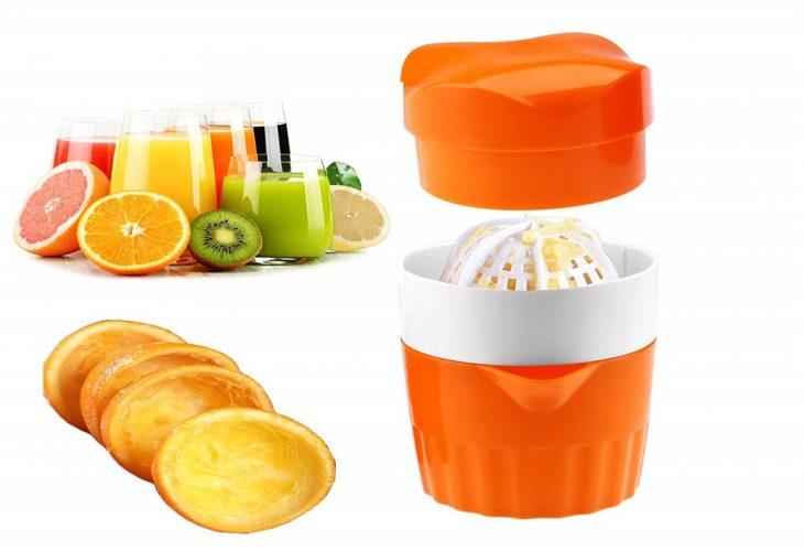 Hand Juicer Citrus Orange Squeezer Manual Lid Rotation Press Reamer for Lemon Lime Grapefruit with Strainer and Container, 2cups
