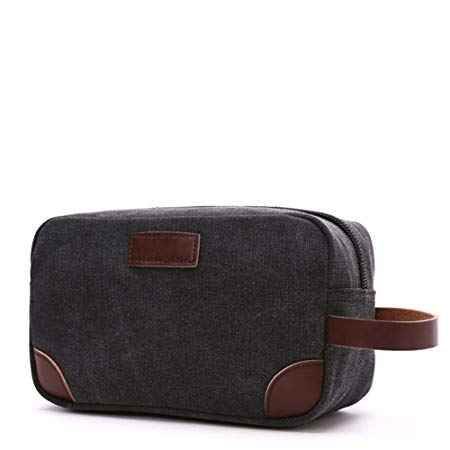 Men's Travel Toiletry Organizer Bag Canvas Shaving Dopp Kit TSA Approved (Black) - Men Toiletry Bags