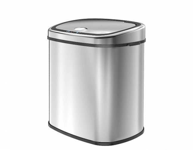 1home 58L/15.3-Gallon Infrared Touchless Automatic Motion Sensor Stainless Steel Trash Can