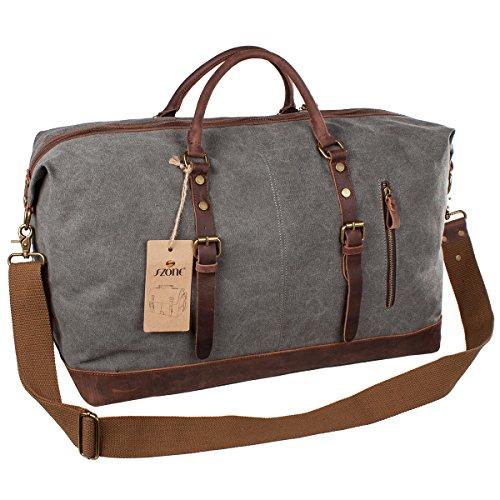 S-ZONE Canvas Genuine Leather Travel Tote Duffel Shoulder Weekend Bag - Weekender bag for men