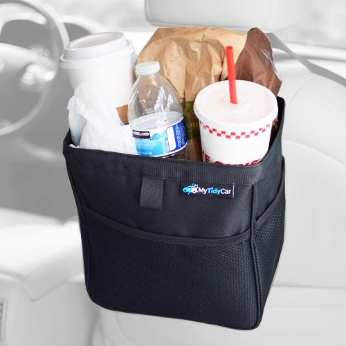 MyTidyCar Car Trash Can - Premium Pockets & Waterproof Litter Garbage Bag - Large