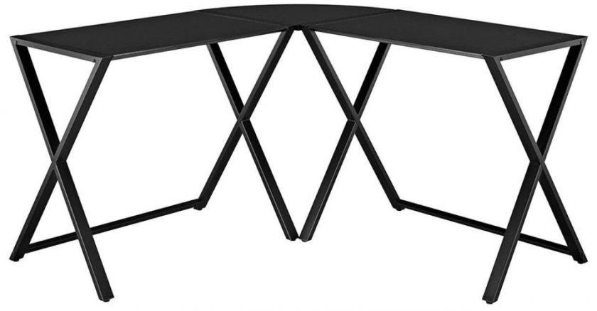 WE Furniture Elite Soreno Glass Corner Computer Desk, Black
