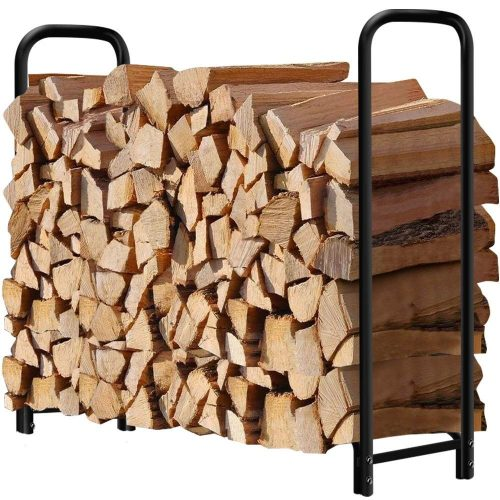 4ft Outdoor Firewood Log Rack for Fireplace Heavy Duty Wood Stacking Holder for Patio Deck Metal Kindling Logs Storage Stand Steel Tubular Wood Pile Racks Outside Fireplace Tools Accessories Black