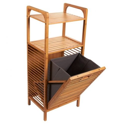 1. Juvale Laundry Hampers - Bamboo Shelf with Tilt-Out Hamper Basket, Clothes Hampers for Laundry, Perfect for Bathrooms and Spas, Brown, 15.8 x 37.5 x 11.8 Inches