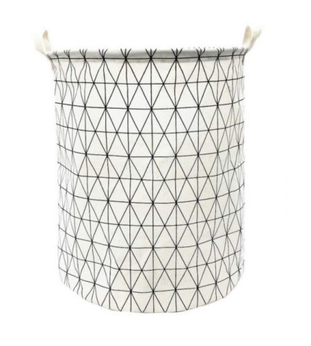 "Songsongstore 19.7"" Large Sized Waterproof Foldable Canvas Laundry Hamper Bucket with Handles for Storage Bin, KidsRoom, HomeOrganizer, nursery storage,Baby Hamper(Geometric Pattern-White)"