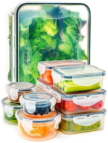 Food Storage Containers with Lids - Airtight Leak-Proof Easy Snap Lock and BPA Free Clear Plastic Container Set for Kitchen Use by Fullstar (18 Piece Set)