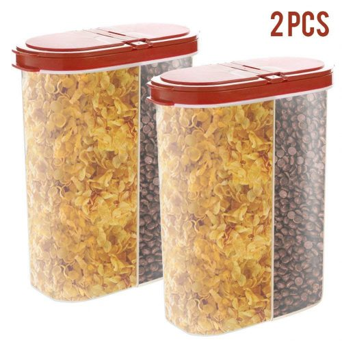2pcs Airtight Cereal Dispenser Snack Container Storage Keeper 12-18 oz Capacity for Dry Food Flour Nut Sugar with Hovering Flip Top Lid and Large Mouth for Easy Pouring – Maroon