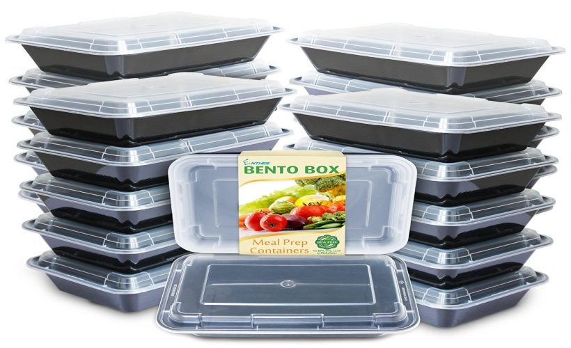 Enther Meal Prep Containers [20 Pack] Single 1 Compartment with Lids, Food Storage Bento Box | BPA Free | Stackable | Reusable Lunch Boxes, Microwave/Dishwasher/Freezer Safe, Portion Control (28 oz)
